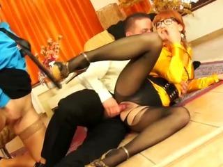 Upper class euro babes sharing a dick