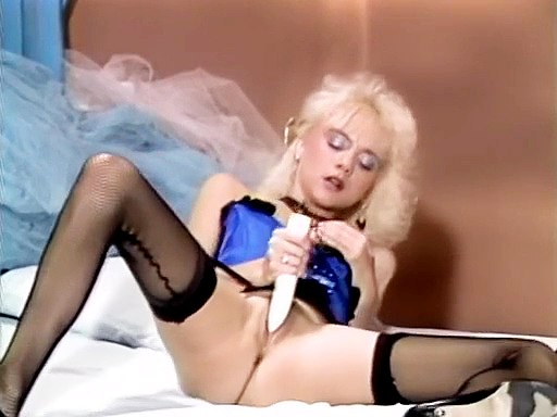 Blonde in hot lingerie dildo..