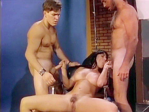 Nasty slut works on two big..