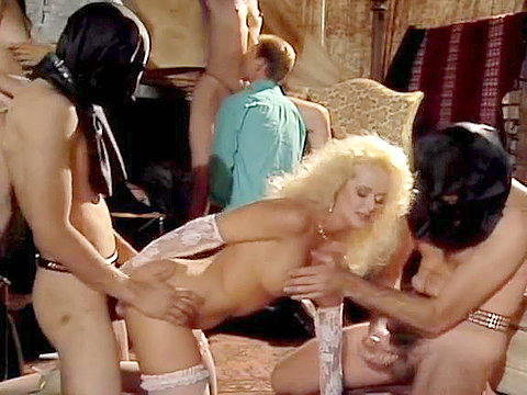 Brandy Wine in white lacy panty takes part in orgy