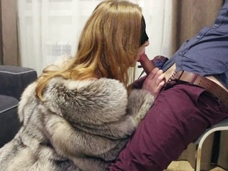 PART 1: Teasing and blowjob in fox fur coat and lingerie. Ultimate erotic