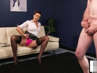 Busty MILF instructing and humiliating sub