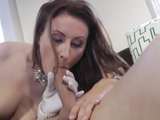 Stockinged british milf sucking and fucking