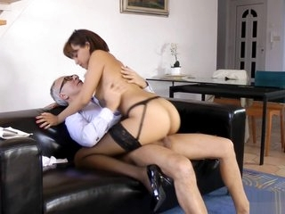 Classy eurobabe sucking and fucking old dick