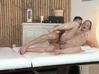 Finger banged babe rides masseurs cock