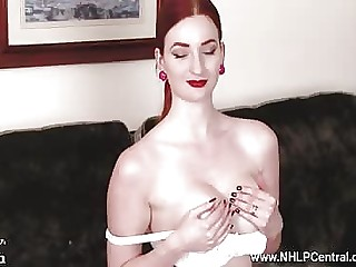 Busty redhead wanks in vintage nylons having a great time cumming all alone